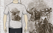 """Футболка """"Козак на коні з шаблею"""" з малюнком Сергія Якутовича (сірого кольору)"""