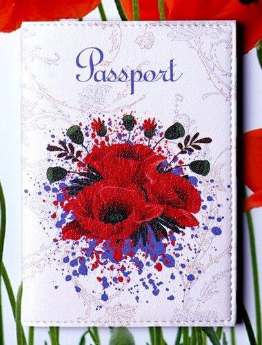 """Обкладинка на паспорт """"Passport. Маки на білому"""" 08"""