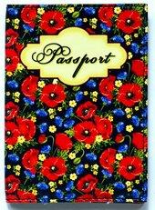 """Обкладинка на паспорт """"Passport. Польові квіти. Маки і волошки на чорному"""" 109 - фото обкладинки книги"""
