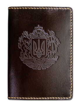 "Обкладинка на паспорт ""Тризуб"" темно-коричневий - фото книги"