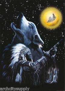 """Плакат """"Wolf Howling Indian Chief (PP0321)"""""""