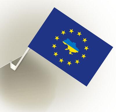 Прапорець Україна-Євросоюз з автофлагштоком