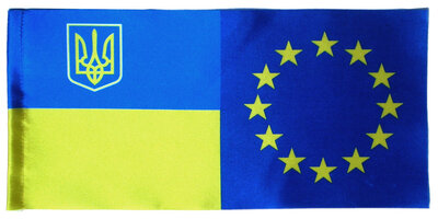 Прапорець України-Євросоюза атласний