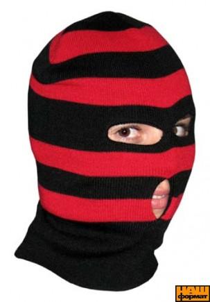 Шапка-маска червоно-чорна (балаклава)