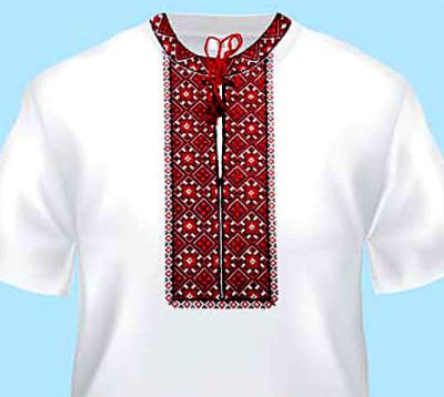 Вишиванка біла-червона з вертикальною доріжкою, розмір S