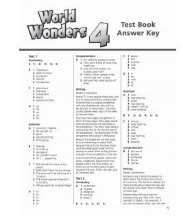 World Wonders 4. Test Book Answer Key (відповіді до тестів) - фото книги