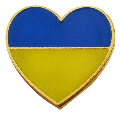 """Значок """"Серце"""" жовто-блакитне"""